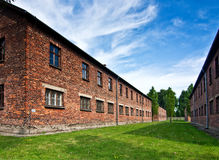 Brick barracks in Auschwitz Stock Images