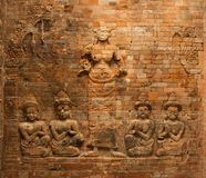 Brick bas-relief of Lakshmi in the Prasat Kravan temple, Angkor, Cambodia Stock Photography