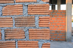 Brick block in residential construction site Royalty Free Stock Images