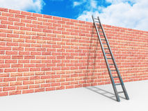 Brick block wall and ladder over sky background.Success concept Stock Photo