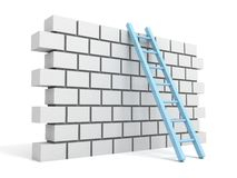 Brick block wall and ladder over a white Royalty Free Stock Photography