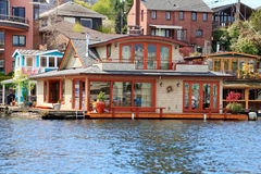 Brick boat house. Lake Washington Stock Images