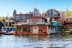 Brick boat house. Lake Washington Royalty Free Stock Photo