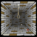 Brick box in perspective. 3d room with a hook on the ceiling and a rope for gibbet Royalty Free Stock Photos