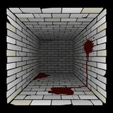 Brick box in perspective. 3d room with spots and puddles of blood on the wall and on the floor. Vector Royalty Free Stock Photography