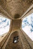 Brick by brick blue sky. Vault in many shapes made by bricks Stock Photo