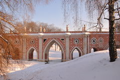 Brick bridge across the ravine in Tsaritsyno Stock Photo