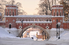 Brick bridge across the ravine in Tsaritsyno Royalty Free Stock Image