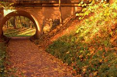 Brick bridge in the autumn forest in Russia Royalty Free Stock Image