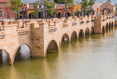Brick bridge. Over the river on afternoon Royalty Free Stock Photography