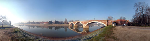 Brick Bridge Sisak. Panoramic image of an old bridge in Europe Stock Images