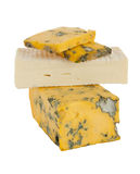 Brick brie and yellow dor blue cheese isolated Royalty Free Stock Image