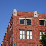 Brick Building. Corner with Blue Sky stock photos