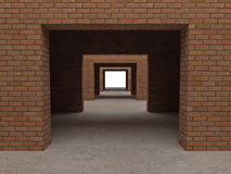 Brick building. Fine image 3d of modern brick building Royalty Free Stock Photos