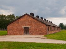 Brick building in Birkenau concentration camp Royalty Free Stock Photo