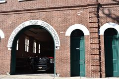 Brick building of the Charleston Fire Department. The fire station is located in the old section of Charleston. It is made of brick and has a retro feel royalty free stock photo