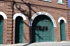 Brick building of the Charleston Fire Department. The fire station is located in the old section of Charleston. It is made of brick and has a retro feel royalty free stock photography
