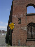 Brick building with Dead End Sign. Near Brooklyn Bridge royalty free stock image