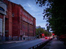 Brick building in the evening Stock Photo