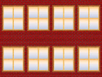 Brick Building Facade With Semi Transparent Windows (Isolated on White) Royalty Free Stock Image