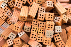 The brick building material used for building construction. The bricks used in the construction Stock Image