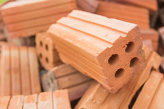 The brick building material used for building construction. Stock Photography