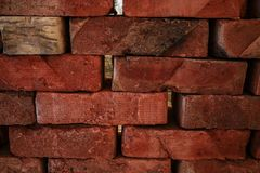 An old brick that was hand-made in wooden molds royalty free stock photography