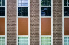 Brick building and windows Royalty Free Stock Image