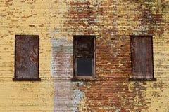 Brick building and windows. Stock Photo