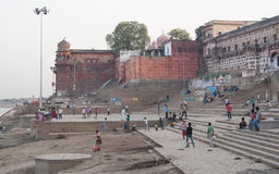 Brick buildings. Holy river in Varanasi, Uttar Pradesh, India Stock Image
