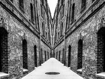Brick buildings in black and white Royalty Free Stock Photo