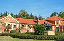 The horse stable of red bricks. Royalty Free Stock Image