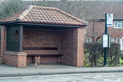 Brick built bus shelter Stock Images