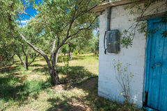 Brick built hut in an olive grove. Royalty Free Stock Image