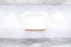 Brick built-in-wall seating. White brick interior design with built-in-wall seating and ceiling lamps. Mock up, 3D Rendering Stock Photos
