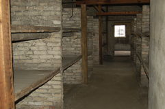 Brick bunks at Auschwitz II - Birkenau Stock Image