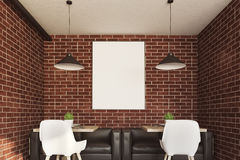 Brick cafe interior, poster, two tables Stock Images