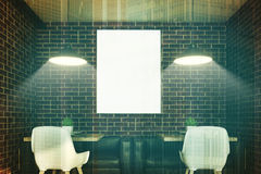 Brick cafe interior, poster, two tables toned Stock Photography