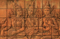 Brick carving. Story about thai music Royalty Free Stock Photo
