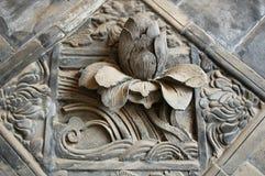 Brick carvings of lotus Royalty Free Stock Image