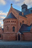 Brick Catholic Church in basilica neo-Romanesque style Stock Photo