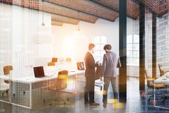 Brick ceiling open space office, beige side toned Stock Photography