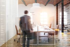 Brick ceiling open space office interior, beige, man Royalty Free Stock Photo