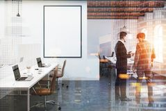 Brick ceiling open space office, poster, people. Open space office interior with white walls, a concrete floor, a brick ceiling and arch windows. A row of Stock Photos