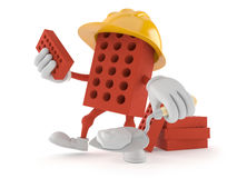 Brick character with trowel Stock Photography