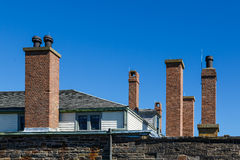 Brick Chimneys on Old Fort Stock Photography