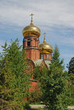 Brick church with gilded dome Royalty Free Stock Photos