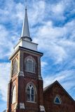 Brick Church Steeple - First Lutheran Church, Decorah, Iowa stock images