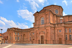 Brick church in Venaria Reale, Italy. Stock Photos