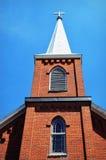 Brick Church White Steeple Stock Photo